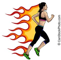 isolato, lunghezza, giovane, correndo, vista laterale, atleta, vettore, donna, pieno, femmina, schizzo, fondo., illustrazione, ragazza, ritratto, bianco