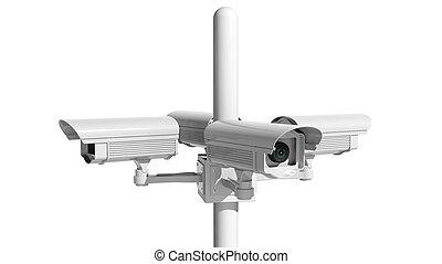 isolato, macchina fotografica sorveglianza, fondo, sicurezza, bianco