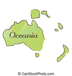 isolato, mappa, di, oceania