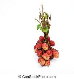 isolato, mazzo, succoso, rosso, lychees