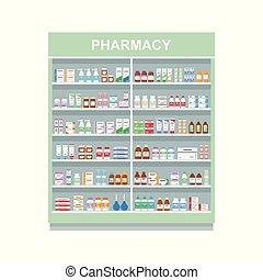 isolato, medicines., scaffale, mensole, farmacia, fondo., grande, bianco