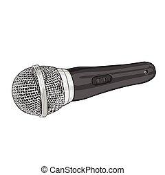 isolato, microfono, bianco, argento
