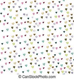 isolato, modello, seamless, illustrazione, valentina, day., fondo., s, vettore, cuori, bianco