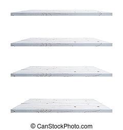 isolato, mostra, product., fondo, bianco, legno, tavola, fotomontaggio, 4, mensole