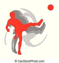 isolato, movimento, giocatore, vettore, fondo, bianco, calcio, uomo