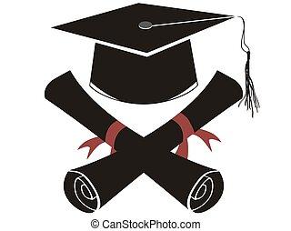 isolato, nero, berretto laurea, e, diploma