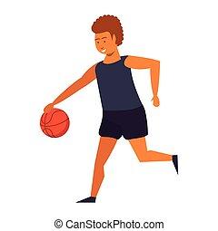 isolato, pallacanestro, gioco, uomo, giovane