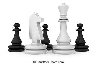 isolato, pezzi, scacchi, fondo, bianco, composizione