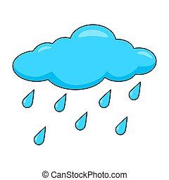 isolato, pioggia, fondo, bianco, gocce, cartone animato, nuvola