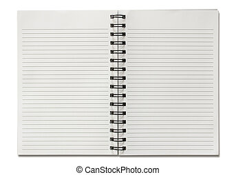 isolato, quaderno spirale, fondo, vuoto, bianco