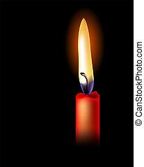 isolato, realistico, sfondo nero, candela, rosso