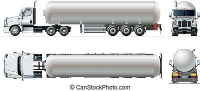 isolato, realistico, vettore, camion, sagoma, bianco, tunker