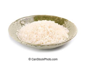 isolato, riso bianco, in, ciotola