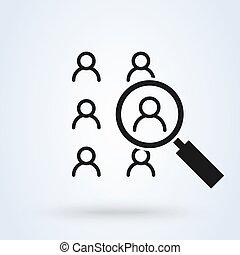 isolato, risorse umane, linea, ricerca, appartamento, magro, icona, vettore