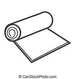 isolato, rotolo, o, oggetto, moquette, materiale, carta, tessile, riciclabile