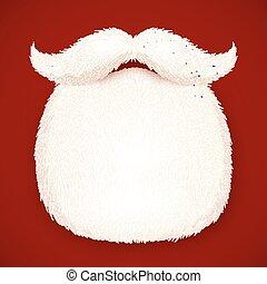 isolato, santa, realistico, fondo, rosso, barba