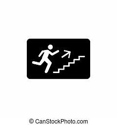 isolato, scale, fondo, arrampicarsi, simbolo, uomini, bianco