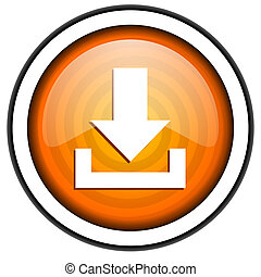 isolato, scaricare, lucido, fondo, arancia, bianco, icona