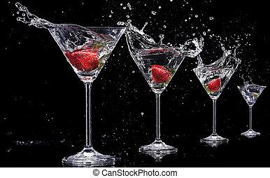 isolato, schizzi, sfondo nero, martini, bibite
