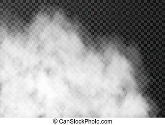 isolato, scuro, fondo., nebbia, bianco, trasparente