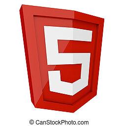 isolato, segno, fondo., html, 5, bianco rosso, 3d