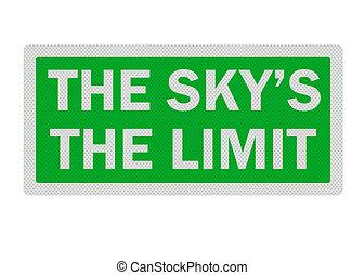 isolato, segno, sky\'s, whi, \'the, limit\', realistico, puro, foto