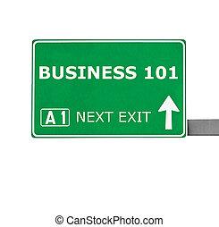 isolato, segno strada, bianco, affari, 101