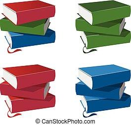 isolato, set, pila, fondo., libri, bianco