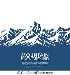 isolato, sfondo bianco, serie, montagna