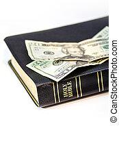 isolato, soldi, bianco, cristiano, bibbia santa