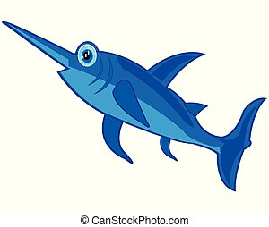 isolato, spada, fish, fondo, bianco, cartone animato