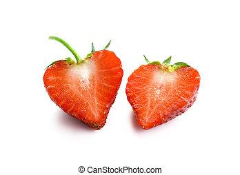 isolato, strawberry., bacca, fondo, mezzo, bianco
