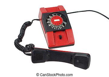 isolato, telefono, retro, fondo, bianco rosso