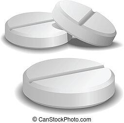 isolato, Tre, fondo, vettore, bianco, pillole