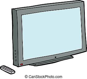 isolato, tv, con, remoto
