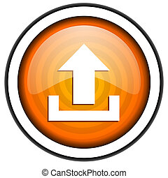 isolato, upload, lucido, fondo, arancia, bianco, icona