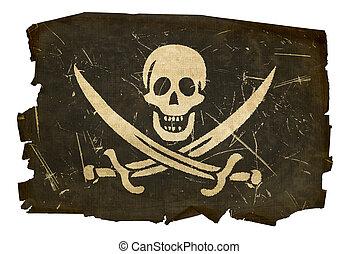 isolato, vecchio, bandiera, fondo, bianco, pirata