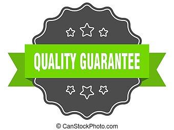 isolato, verde, garanzia, label., seal., qualità