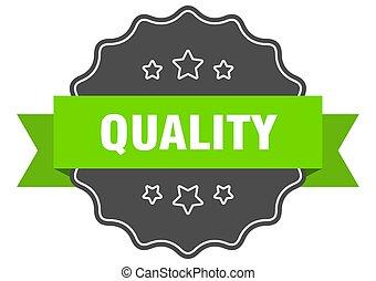 isolato, verde, qualità, label., seal.