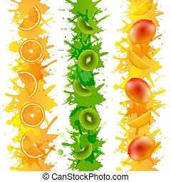 isolato, vernice, fondo, frutte, bordo, trasparente
