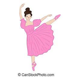 isolato, vestito bianco, rosa, ballerina, fondo., vettore, graphics.