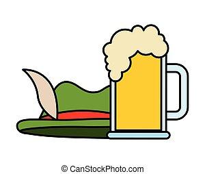 isolato, vetro, birra, verde, disegno, cappello