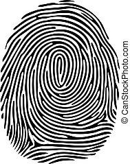 isolato, vettore, sfondo nero, impronta digitale, bianco
