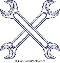 isolato, wrenches, fondo., vettore, attraversato, bianco