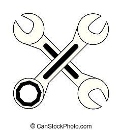 isolato, wrenches, nero, attraversato, bianco, cartone animato, icona