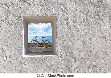 isole baleari, spiaggia, e, bicicletta, attraverso finestra