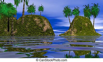 isole, due, laguna