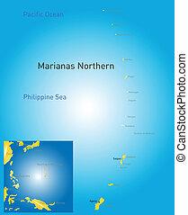isole, settentrionale, mariana, mappa