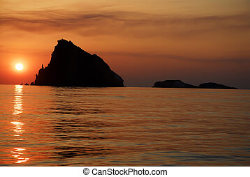 isole, tramonto, eolie