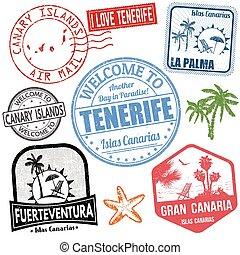 isole, viaggiare, set, francobolli, canarino